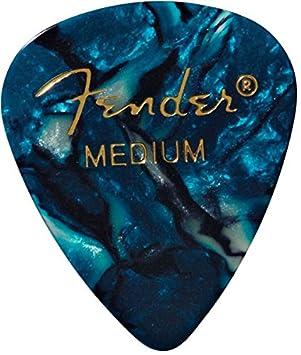Fender 351 - Púas de celuloide clásicas medianas, 12 unidades, turquesa océano para guitarra eléctrica, guitarra acústica, mandolina y bajo: Amazon.es: ...