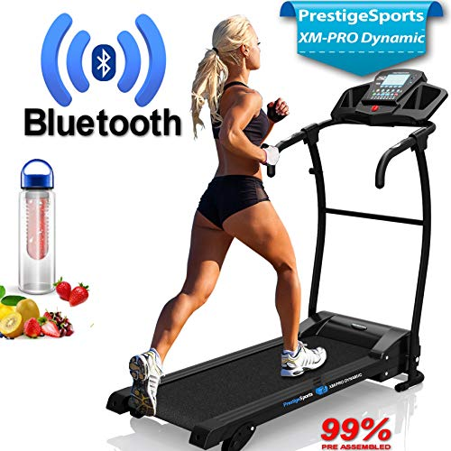 PrestigeSports XMPRO Dynamic Treadmill - 2019 Model Motorised Running Machine, Powerful Motor 1.5CHP 14KPH Speed, Speakers, 3 Level Manual Incline, 17 Program, Pulse