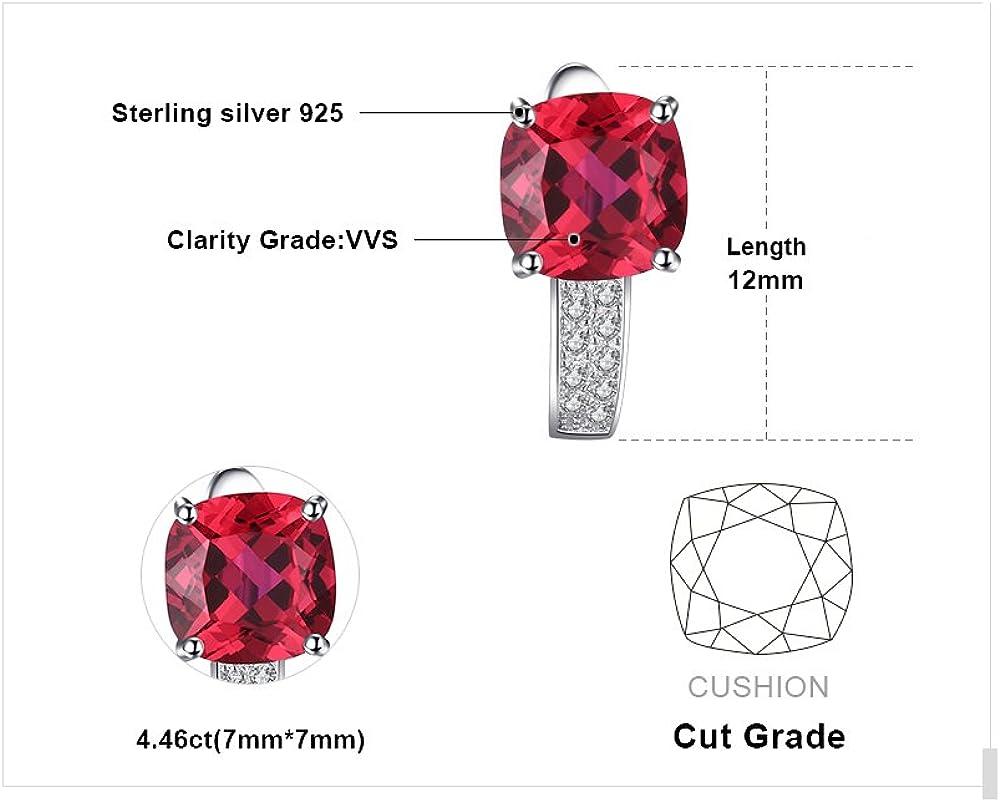 JewelryPalace 4,58ct El/égant Boucles dOreilles Cr/éoles Femme en Argent Sterling 925 en Rubis de Synth/èse Oxyde de Zirconium