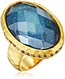 18k Gold Plated Fine Silver Plated Brass Clear Glass Vintage Estate Ring, Size 8