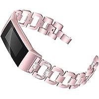 Cooljun Compatible avec Fitbit Charge 3,Bracelet en Acier Inoxydable avec Diamant de Remplacement
