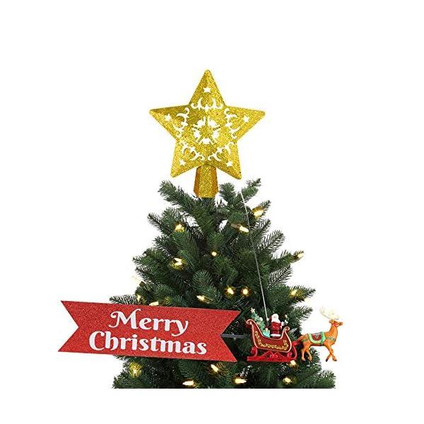 Sulida Luce superiore dell'albero di Natale, stella brillante cava 3D, decorazione per albero di Natale, albero di Natale, proiettore di stella girevole LED luci (oro) 2 spesavip