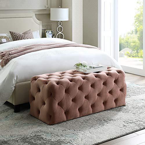 - Inspired Home Blush Velvet Bench - Design: Hayden | Allover Tufted | Modern & Contemporary Design
