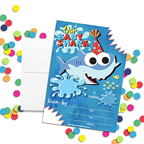 OMG Party Factory - Baby Cute Shark Birthday Party Invitations for Boys or Girls - Kids Party Supplies and Decorations - Includes Invites Cards and Envelopes (Set of 10)