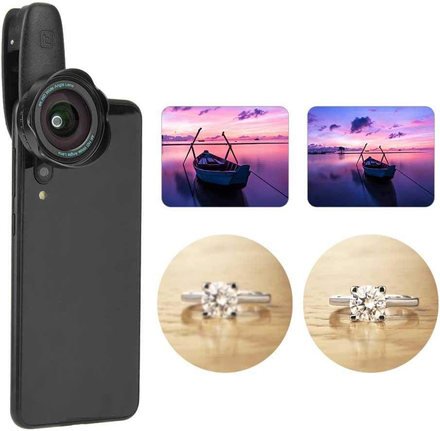 Portable Aspherical Lens,Professional 2-in-1 HD Wide Angle 15X Macro Lens Set with Phone Clip for Mobile Phone Tablet PC
