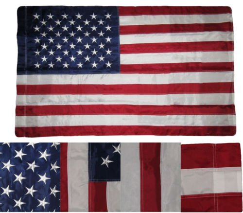 5 Nylon Pockets - Moon 3X5 FT USA Embroidered Blue Sleeve Pole Pocket Deluxe Nylon Stars American Flag - Vivid Color and UV Fade Resistant - Prime Outside Garden Home Decor