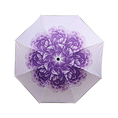 Umbrella, Eddis Foldable Umbrella Rain-proof Windproof Sunscreen and UV Protection Umbrella With 9.8in Storage Length (Black/Light Purple) (Golfers Sun Protection)
