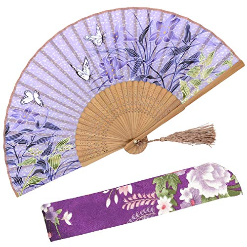 OMyTea Hand Held Silk Folding Fans Bamboo Frame a Fabric Sleeve Protection Gifts - 100% Handmade Oriental Chinese/Japanese Vintage Retro Style Women Ladys Girls (WZS-9)