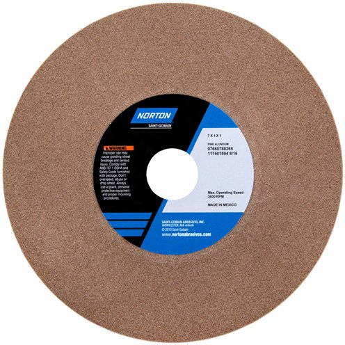 Norton Abrasives 07660788277 - Bench or Pedestal Grinding Wheel - Grade: Medium, Grit Number: 60/80, Wheel Diameter: 8 in