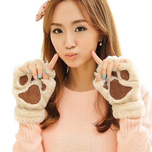 Aniwon Fingerless Gloves Cat Claw Bear Paw Style Winter Plush Furry Mitten for Women
