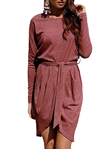 Belted Wrap Sweater - Young17 Casual Loose Long Sleeve Wrap Slit Sweater Women Mini Dress with Belt (Coffee,M)