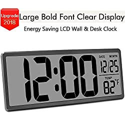 "TXL 13.9"" Jumbo LCD Digital Alarm Clock Battery Operated Extra Large Wall Clock Display 4.6 Bold Font/Temperature/Calendar/Alarm Energy Saving Kitchen Office Desk Clock without Backlight, Rifle"
