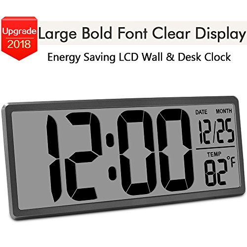 "TXL 13.9"" Jumbo LCD Digital Alarm Clock Battery Operated Extra Large Wall Clock Display 4.6 Bold Font/Temperature/Calendar/Alarm Energy Saving Kitchen Office Desk Clock without Backlight, Rifle"
