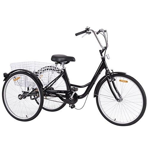 Goplus Adult Tricycle 3-Wheel Bicycle Single Speed w/ Bell B
