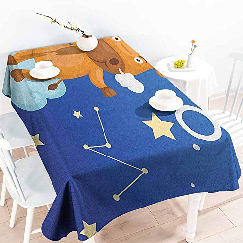 EwaskyOnline Spill-Proof Table Cover,Zodiac Taurus Cartoon Bull Character on Blue Cloud in Sky with Stars Constellation and Sign,High-end Durable Creative Home,W52x70L, Multicolor]()