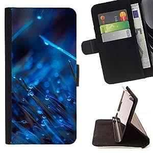 Momo Phone Case / Flip Funda de Cuero Case Cover - AZUL GOTAS EN HIERBA - LG G4