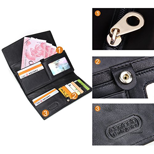 Clutch Women Coin Card Purse Contacts Black Wallet Leather Long Holder AwTTX