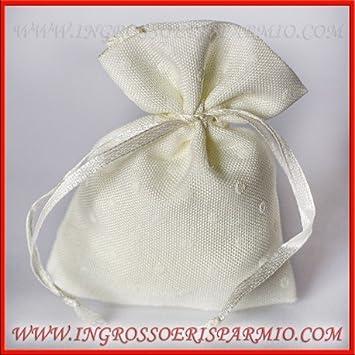 a09db820b351 Sacchetto per confetti in cotone di colore bianco con pois in tinta ...
