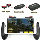 Mobile Phone Game Controller & Grip, IOS/Android Mobile Gaming Grip with Sensitive L1R1 Aim and Shoot Trigger for PUBG & Fortnite for iPhone 7/iPhone X/iPhone 8 with EVA Case by Allon (1 Pair+1 Grip)