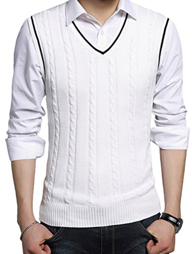 - Lavnis Men's V-Neck Pullover Vest Casual Sleeveless Knitted Slim Fit Sweater Vest White S