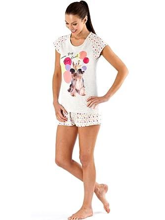 55f38badae Womens Ladies Summer Top   Short Pyjamas Photo Animal Print Pjs Pajamas  LN59 (18