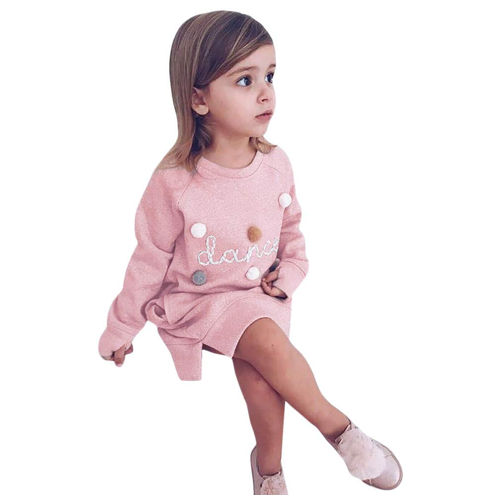 FEITONG Toddler Kids Baby Girls Letter Dance Hairball Pullover Sweatshirt Dress