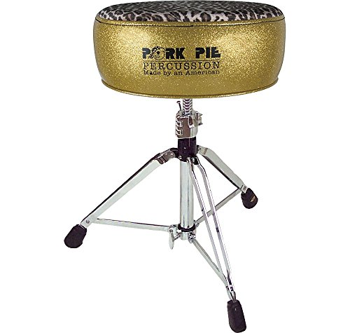 Pork Pie Round Drum Throne Gold Sparkle with Leopard Top