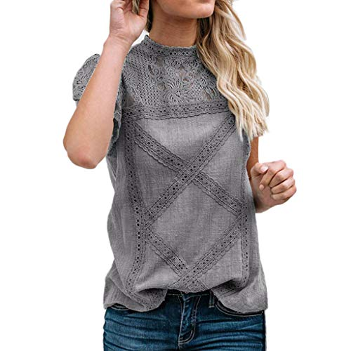 ASOBIMONO Women's Floral Cutout Lace Stitching Tops Stand Collar Ruffles Short Sleeve T Shirts Casual Solid Cotton Tees Gray ()