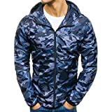 Men's Coats for Mens Autumn Winter Zip Camouflage Slim Pocket Fit Hoodies Coat,Suit Jacket (2XL,Blue)