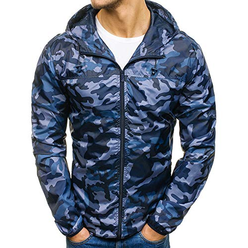 Men's Coats for Mens Autumn Winter Zip Camouflage Slim Pocket Fit Hoodies Coat,Suit Jacket (2XL,Blue) by Ennglun Jacket mens Coats