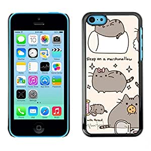 PC/Aluminum Funda Carcasa protectora para Apple Iphone 5C Pussy Cat Grey Sleep Marshmallow Play / JUSTGO PHONE PROTECTOR