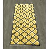 "Ottomanson Studio Collection Moroccan Trellis Design 20""X59"" Runner Rug Area, 20"" x 59"", Yellow"