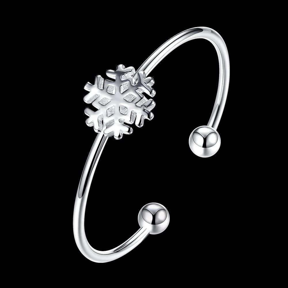 Greendou 925 Sterling Silver Bracelet Snowflake Round Beads Open Cuff Bangle Bracelet for Women Girls