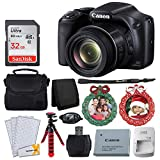 Canon SX530 HS PowerShot Digital Camera with 50x Optical Zoom & Built-in Wi-Fi (Black) + 32GB Memory Card + Camera Case + Flexible Tripod + Wreath Photo Ornament Green, Red – Holiday Bundle Review
