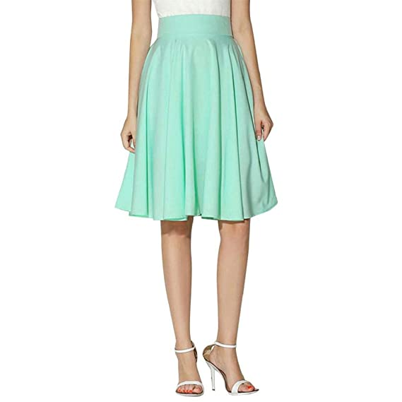 a75329d48c VJGOAL Damen Rock, Mode Trends 2019 Damen Mädchen Solid Hohe Taille  Faltenrock Knielang Minikleid Partykleid