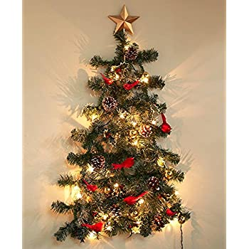 the lakeside collection lighted christmas wall tree traditional