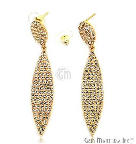 Beautiful Gold Vermeil Earring Studded With Micro Pave White Topaz (GPWT-90039) by GemMartUsa Finished Jewelry