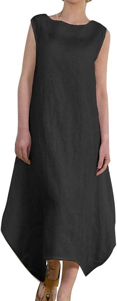 RODMA - Vestido Largo para Mujer, de algodón de Manga Larga y ...