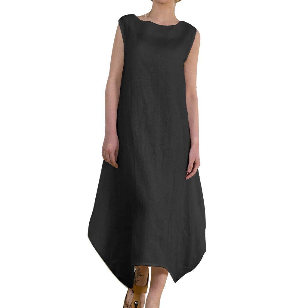 Women Summer Long Dress Elastic Cotton Linen Sleeveless Round-Neck Spring One Piece Dress Bohemian Style Beach Dress (Black, XL)