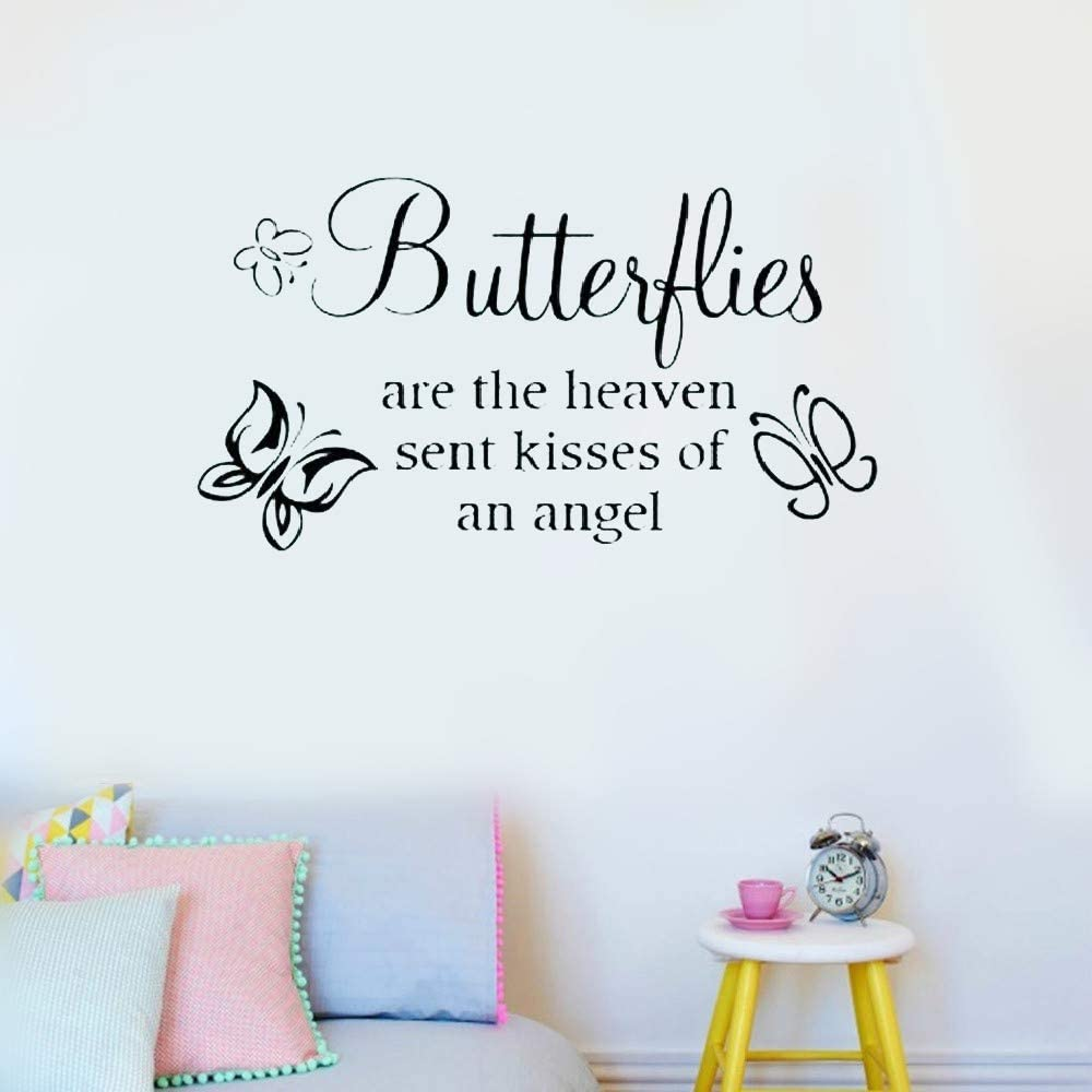 Amazon Com Falaog Wall Stickers Inspiring Quotes Home Art Decor Decal Mural Butterflies Are The Heaven Sent Kisses Of An Angel For Nursery Kids Room Living Room Bedroom Home Kitchen