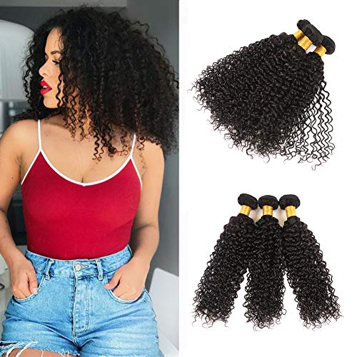 Huarisi Malaysian Kinky Curly 3 Bundles 100% Unprocessed Real Human Hair Weft Extensions Thick Curly Virgin Hair Weave Natural Color 95-100g/bundle 14 16 18inch -