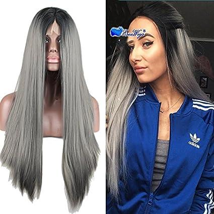 eseewigs largo recto peluca Negro raíz gris oscuro peluca Lace Front sintético resistente al calor de