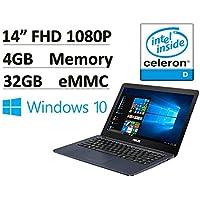 2017 NEW Flagship Asus EeeBook 14 Full HD Premium Laptop Signature Edition - Intel Dual-Core up to 2.48GHz, 4GB RAM, 32GB eMMC, WiFi, Bluetooth, HDMI, USB 3.0, Webcam, SD Card Reader, Windows 10