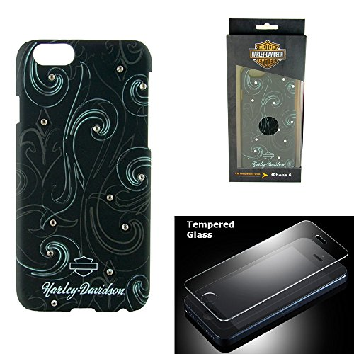 Harley Davidson iPhone 6s, iPhone 6 Hard Shell Bling Stones Cover with Tempered Glass Screen Protector.