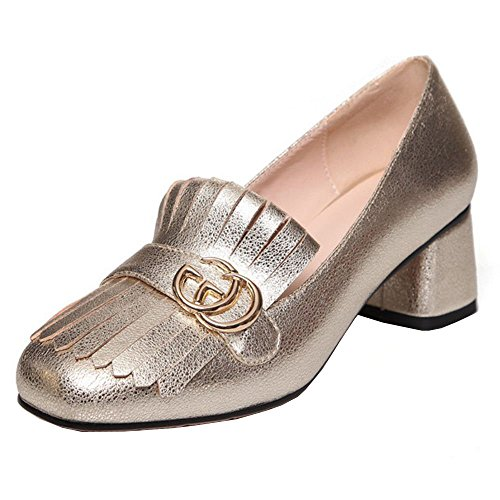 TAOFFEN Shoes Mid Fashion Gold Heels Women Square Court rSzPnwUOrq