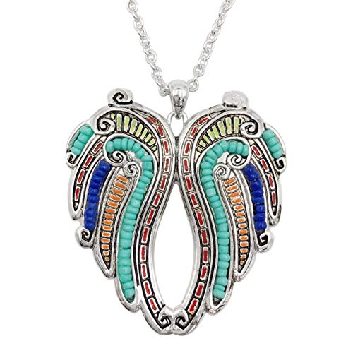 (Gypsy Jewels Long Multi Color Beaded & Inlay Silver Tone Necklace (Angel Wings Heart))