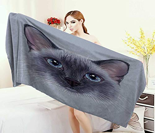 Anniutwo Animal,Bath Towel,Portrait Image Thai Siamese Cat Retro Style Lettering Artwork,Customized Bath Towels,White Sky Blue Grey Size: W 19.5'' x L 39.5'' by Anniutwo