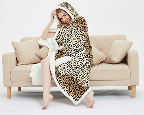 MARQUESS Hoodie Robe Ultra Soft Throw Wrap Plush Coral Fleece & Sherpa Wearable Blanket Animal Print Chic Lifestyle Gift for Women 51 x 71