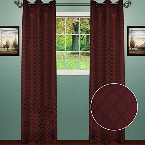 Sweet Home Collection 2 Pack Blackout Curtains Window Panels Room Darkening Thermal Insulated with Metal Grommets Lattice Chocolate - Spread Choc