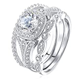 Newshe Bridal Set 2ct Round Cut White Cz 925 Sterling Silver Wedding Engagement Ring Set Size 7